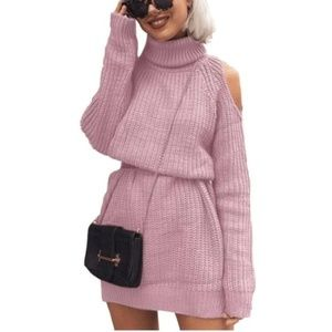 Sweaters - Pink Cold Shoulder Turtle Neck Knit Sweater OS